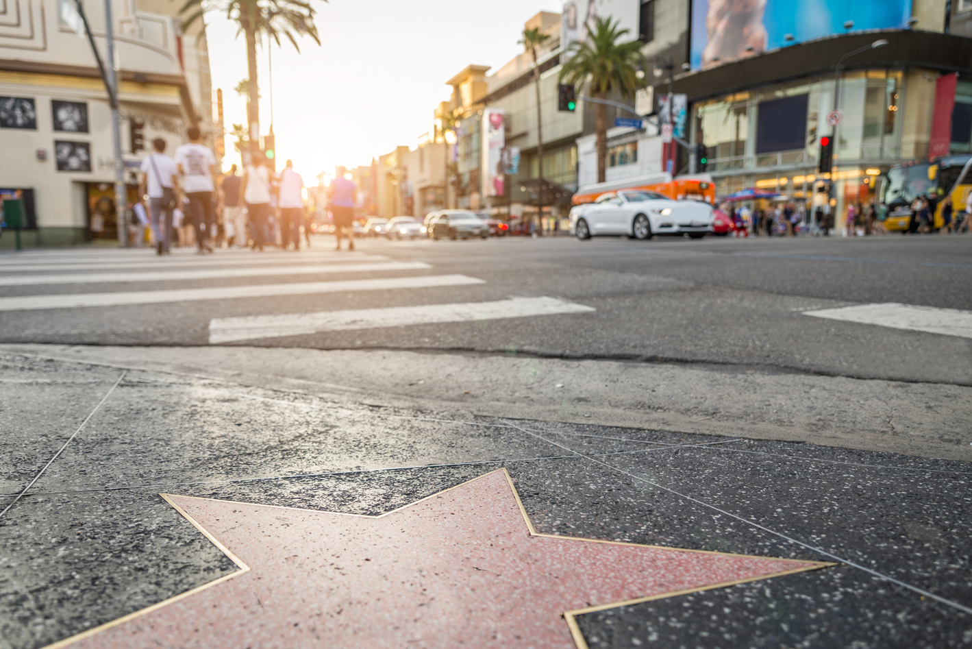 Walk-of-Fame-at-sunset-on-Hollywood-Boulevard